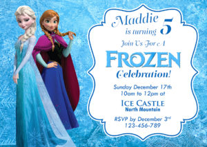 5r Frozen Birthday Invitation (front)