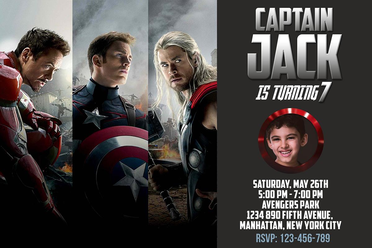 Captain America 4r Birthday Invitation Dioskouri Designs