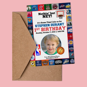 Free NBA Birthday Basketball Invitation Preview