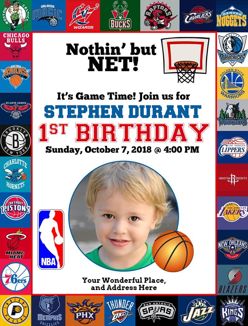 Free NBA Birthday Dedication Basketball Invitation