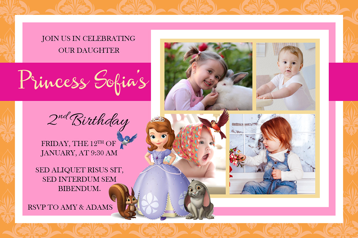 Free Sofia The First Birthday Christening Invitation
