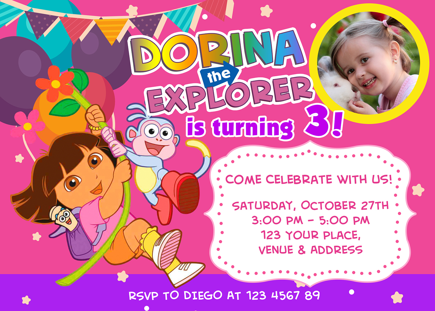 5r Free Dora The Explorer Birthday Invitation