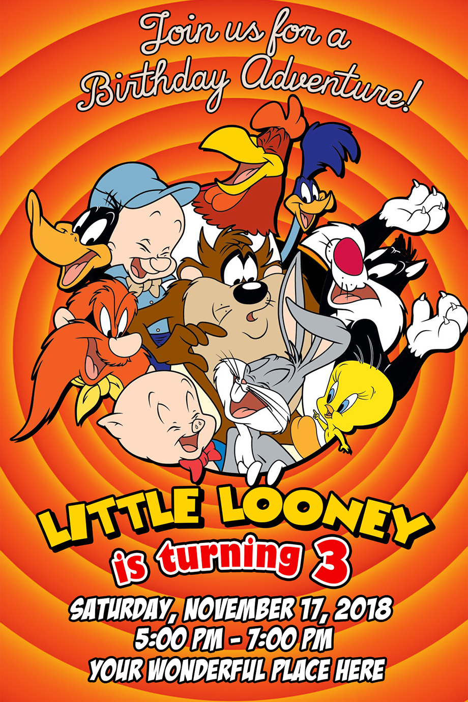 Looney Tunes Birthday Invitation Dioskouri Designs