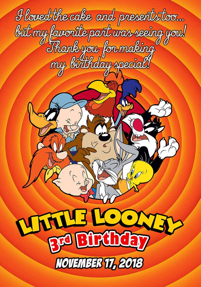 looney tunes birthday invitation