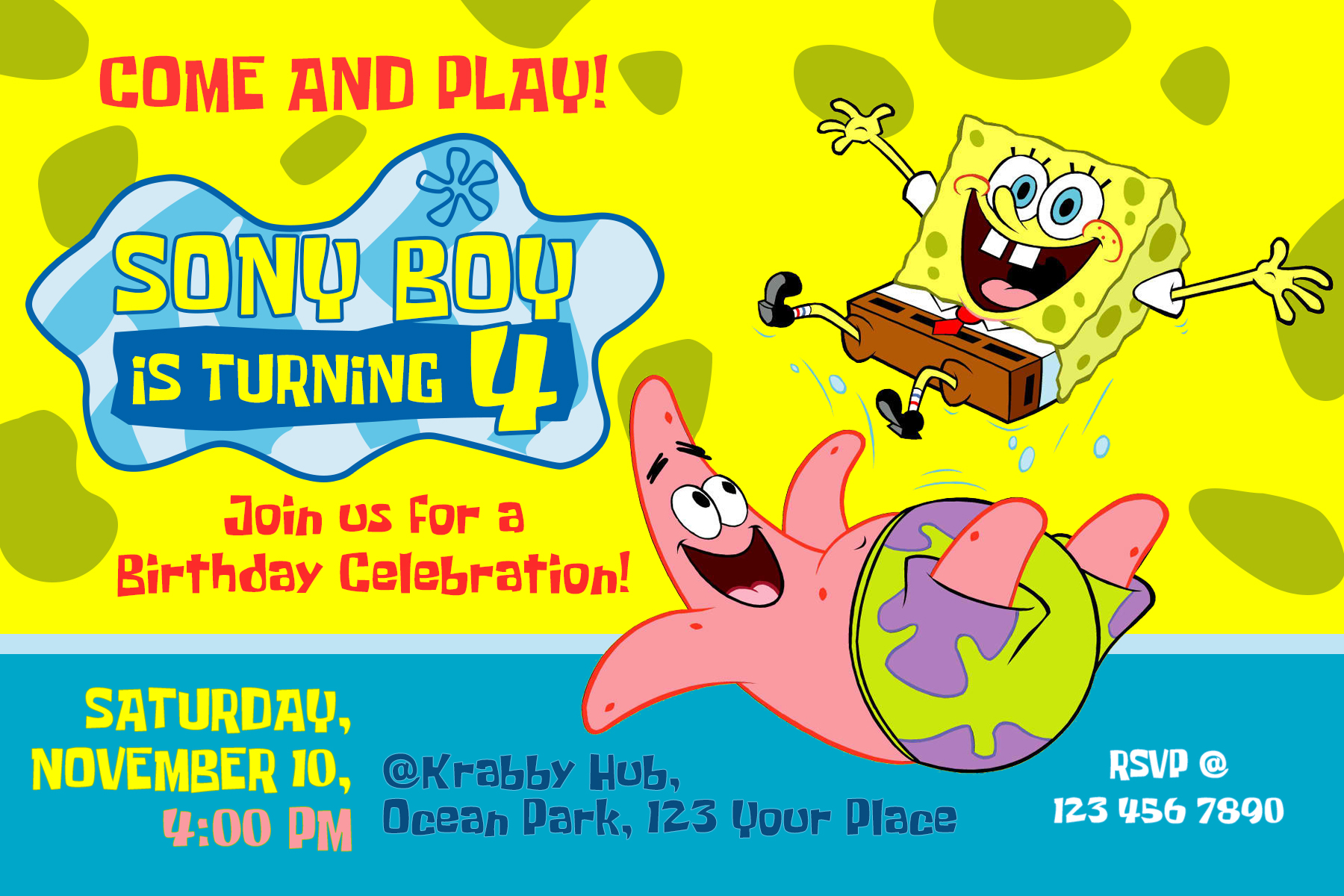 Spongebob Squarepants Birthday Invitation Dioskouri Designs
