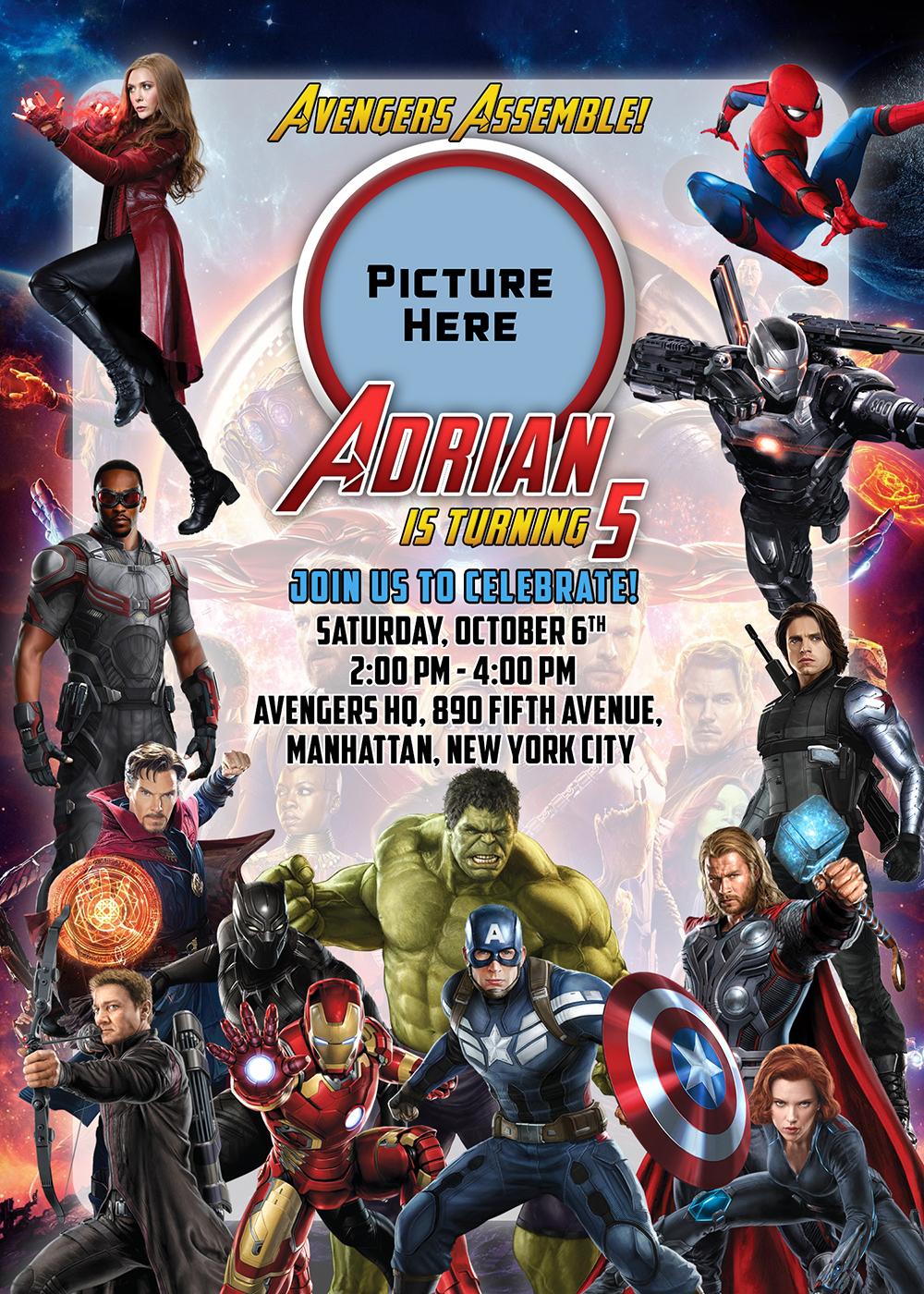 Avengers 5r Birthday Invitation Dioskouri Designs
