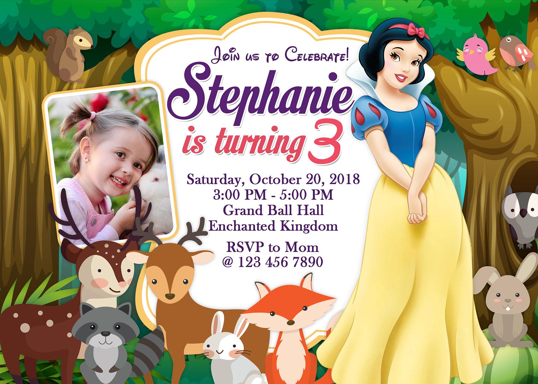 5r snow white birthday invitation