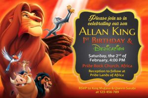 Free Lion King Birthday Christening Invitation