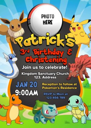 Free Pokemon Birthday Christening Invitation