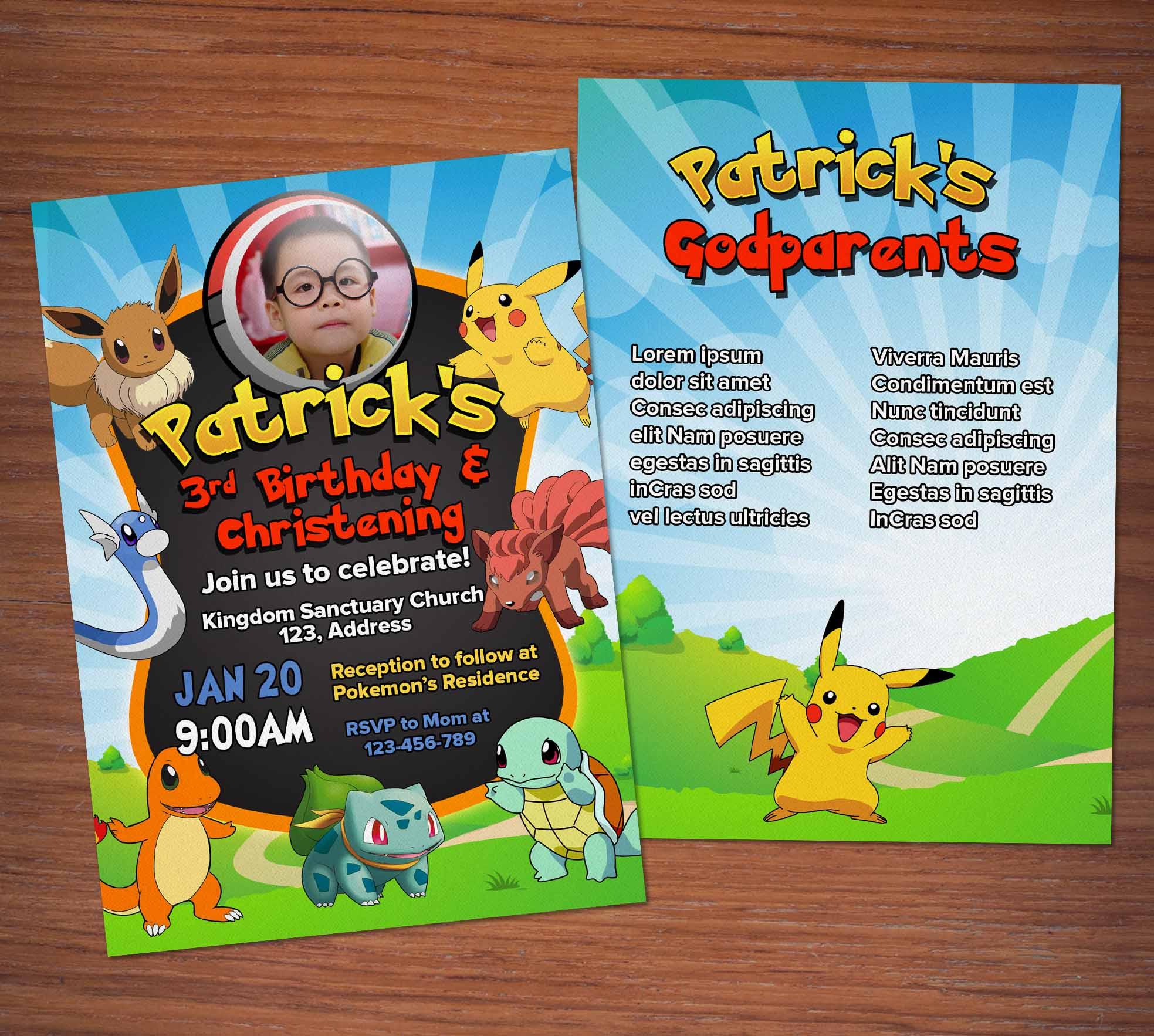 Free Pokemon Birthday Christening Invitation