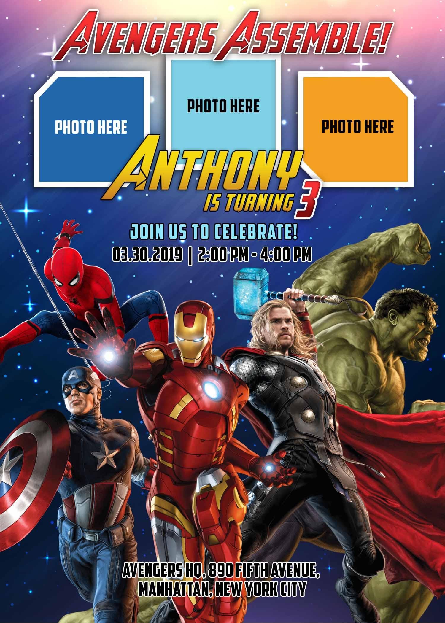 Avengers Invitation Birthday Template