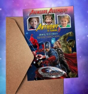 Free Avengers Heroic Birthday Invitation Preview