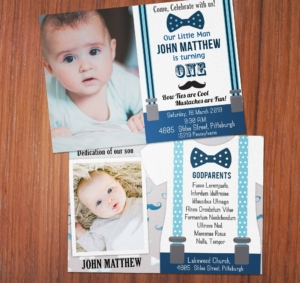 Free Little Man First Birthday Invitation Preview