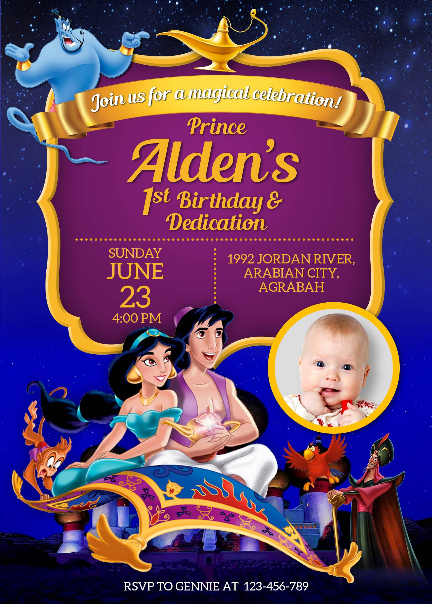 5r aladdin birthday christening invitation