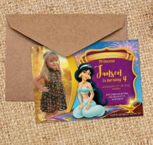 Free Disney Princess Jasmine Birthday Christening Invitation1