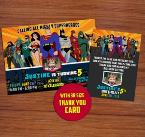 Free Justice League Birthday Invitation Preview