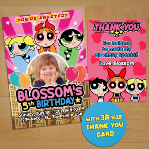 Free Powerpuff Girls Birthday Invitation Preview