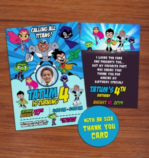 Free Teen Titans Go Birthday Invitation Preview1