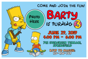 Free The Simpsons Bart Birthday Invitation