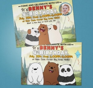 Free We Bare Bears Birthday Invitation Preview