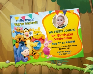 Free Winnie the Pooh Birthday Invitation Christening Preview