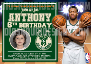 FREE NBA Birthday Invitation Giannis Antetokounmpo Sample