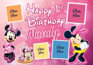 free Minnie Mouse 1st birthday template