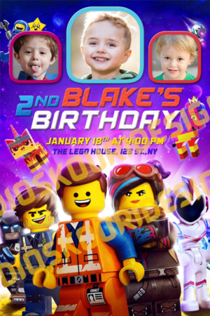 Free The Lego Movie Birthday Invitation Preview