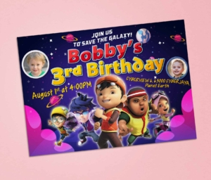 Free Boboiboy Galaxy Birthday Invitation